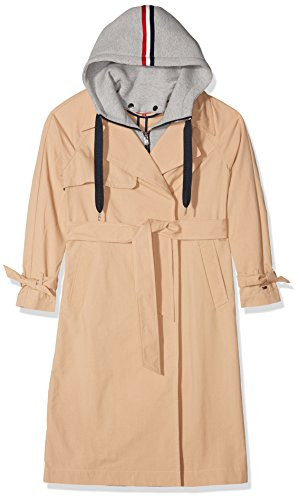 Tommy Jeans Donna TRENCH COAT Giubbotto Maniche lunghe Impermeabile Beige (Ginger Root 685) X-Large