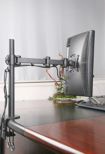 Rife Single Fully Adjustable/Tilt/Articulating Full Motion LCD Arm Desk Mount Stand for 1 Screen up to 27 Inch
