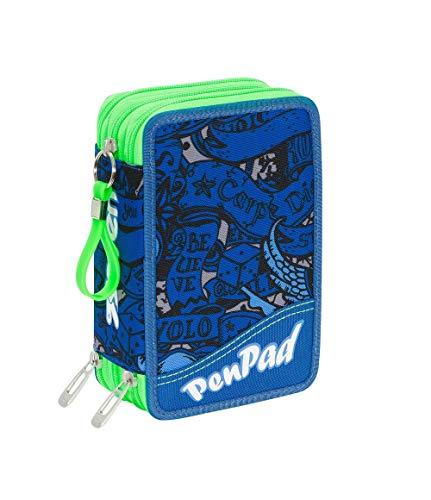 ASTUCCIO scuola SEVEN - KOI - 3 scomparti - pennarelli matite gomma ecc. Blu - Verde Fluo