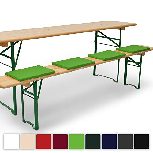 Beautissu 4er Set Comfort XS Gepolsterte Bierbankkissen 25x36x2 cm Kissen Sitzkissen mit Befestigungsband - Apfelgrün erhältlich