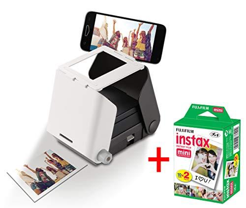 KiiPix Kit Stampante fotografica per Smartphone con pellicola Fujifilm Instax Mini (20 foto), Nero
