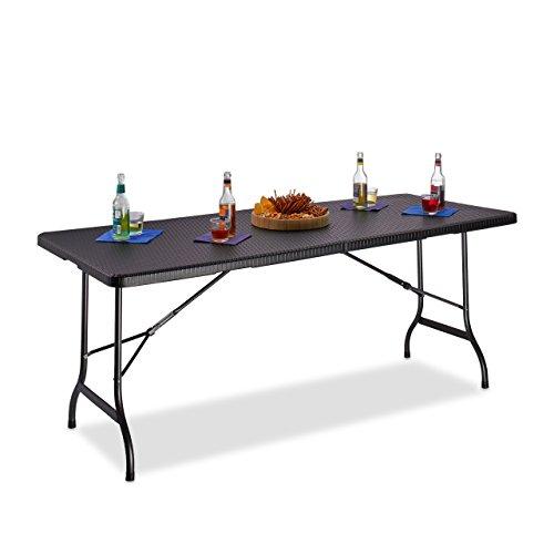 Relaxdays Tavolo da giardino BASTIAN richiudibile, grande, con maniglia, campeggio, HxLxP 72x178x74 cm, colore nero