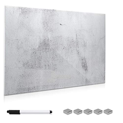 Navaris Magnettafel Memoboard aus Glas - Magnetwand 90x60 cm zum Beschriften - Magnetische Tafel inkl. Magnete Stift Halterung - Beton Optik Design