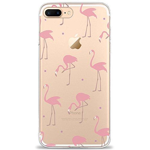 DAPP iPhone 7 Plus/8 Plus Hülle, x24C7; Dolce Vita Serie Transparente Silikon Handyhülle für Damen/Mädchen, Durchsichtig mit Rot Rosa Flamingo Muster