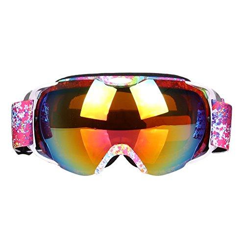Gafas de esquí doble capa antiniebla gafas de esquí esférico de máscara, máscara, anti-UV snow-proof viento escalada gafas máscara, rosa