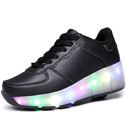 113b546b2343 KISCHERS Unisex Kids LED Wheel Roller Skate Shoes Retractable Outdoor Sport  Flashing Sneaker for Girls Boys