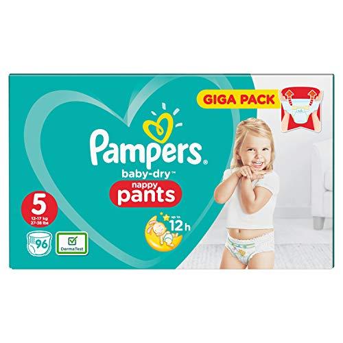 Pampers Baby-Dry Pants - Pannolini con canali d'aerazione, taglia 5, 96 pezzi