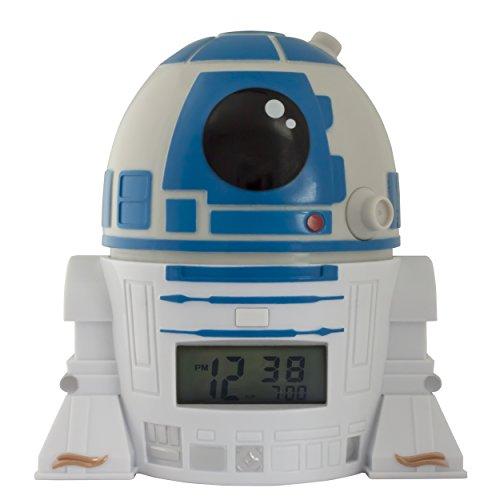 BulbBotz Star Wars 2021401 R2D2 Kinder-Wecker mit Nachtlicht und typischem Geräusch , blau/weiß, Kunststoff , 14 cm hoch , LCD-Display , Junge/ Mädchen , offiziell