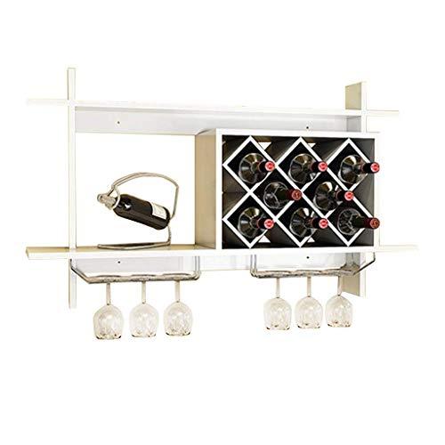 Scaffale per vini a parete in legno MDF Cabinet Grid creativo appeso portabottiglie di vino Grande...
