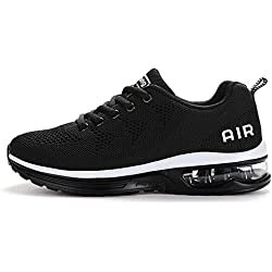 JEDVOO Hommes Femme Basket Mode Chaussures de Sports Course Sneakers Fitness Gym athlétique Multisports Outdoor Casual, Noir/Blanc, 38 EU