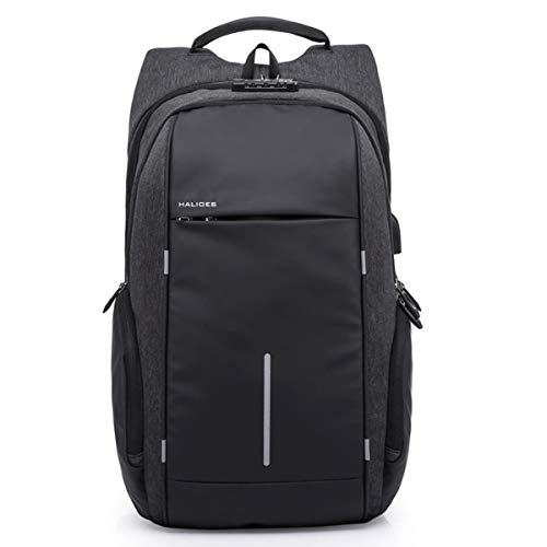 "HALIOES HS-101+ 35L, 17"" Antitheft Laptop Backpack with TSA Combination Lock, USB Charging Port, AUX Port, 2 Largs & 2 Hidden Compartments (Midnite Black)"
