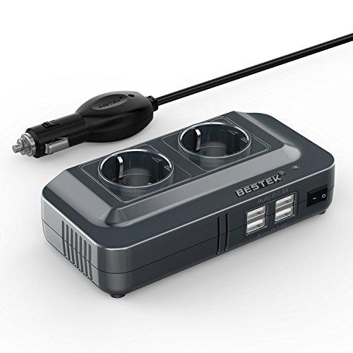 BESTEK 200W Inverter da Auto 12V a 230V con 4 Porte Smart USB 2 Prese AC, Convertitore Tensione per Camper/Barca a Onda Sinusoidale Modificata
