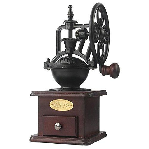 Molinillo de café manual Hierro fundido antiguo Manivela Molinillo de café con ajustes de molienda y cajón de captura
