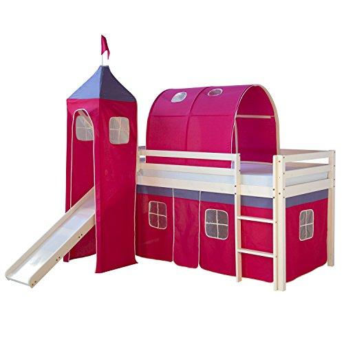 Homestyle4u 539, Kinder Hochbett Mit Rutsche, Leiter, Turm,Tunnel, Vorhang Pink, Massivholz Weiß, 90x200 cm