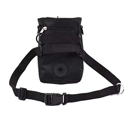 Electomania Pet Snack Bag Pet Training Waist Bag Dog Training Food Pet Treat Bag Pouch with Buckle Belt (Black)