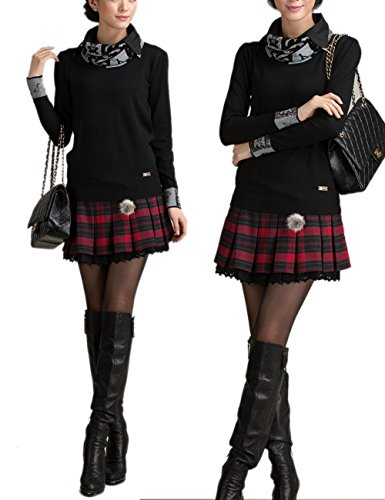 02c9439424a EMMA Women s Sexy A-line School Girl Style Plaid Pleated Woolen Skirt ...