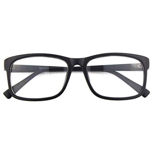 CGID CN12 Brille Extra Schmaler Rahmen! Slim Rechteck Nerd Clear Brille, A Matte Schwarz, 54