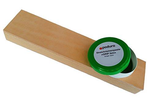Abziehleder Set » PODURO MINI KOMBI « Streichriemen auf Holz und Chromoxid Schleifpaste zum Messer abziehen