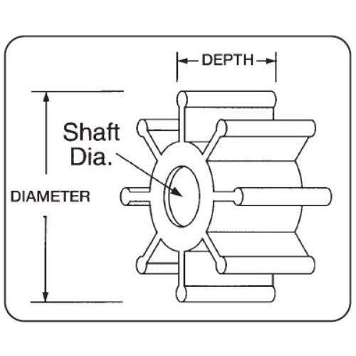 Jabsco 836-0003Marine Replacement Impeller (Nitrile, o Silhouette, 6,3cm Deep, 7Spline Drive, 2,5cm Shaft, 9Lama, Diametro 9,5cm, Inserto in Ottone)