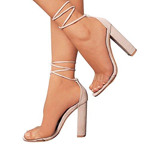 design raffinato grande selezione del 2019 acquista per il più recente Minetom Donna Moda Sandali Tacco A Blocco Peep Toe Sandals Shoes Casuale  Beach Eleganti Partito Scarpe Estate Trasparenti Lacci - Prezzo lato