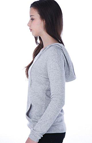 100% Kaschmir V-Ausschnitt Kordelzug Hoodie Pullover für Frauen - von CASHMERE 4 U (X-Large, Argent (Garu)) - 4