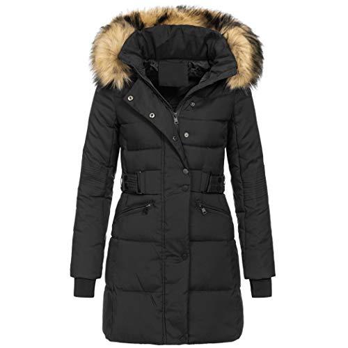 Elara Chunkyrayan - Piumino Invernale da Donna, con Collo in Pelliccia Sintetica Black (Nature Fur) 48 IT (XL)