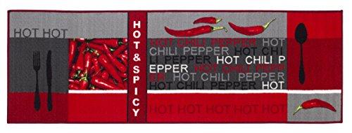 andiamo Tappeto da Cucina Hot Pepper, 100% Poliammide, Rot, 250 x 67 x 0,5 cm