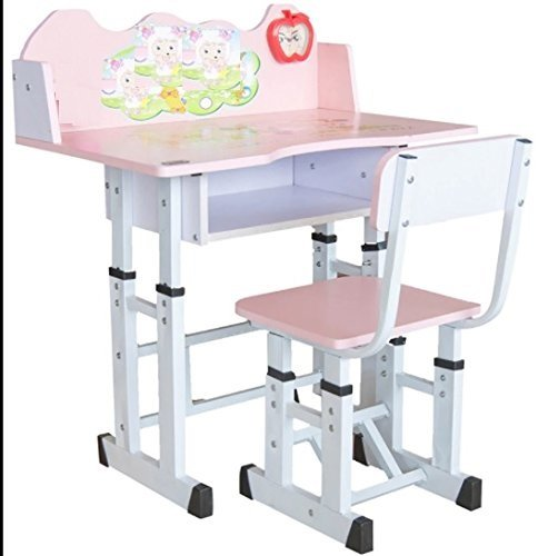 TruGood Wooden Study Table Desk and Chair Set Girls (Pink)