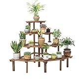 Estante de Flores estanteria plantas Soporte de exhibición carbonizado del estante de Bonsai del estante de los potes del estante de la flor de 4 gradas para el patio del jardín Balcón