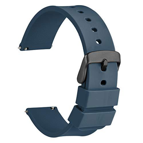 WOCCI 20mm Cinturino Orologio in Silicone con Fibbia Nera, Sgancio Rapido (Nero)
