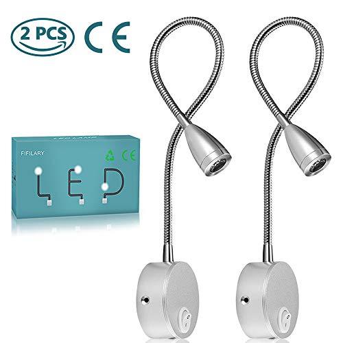 Leselampe,2PCS LED-Bettleuchten für die Wandmontage;Nachttischlampen mit Aluminium;Nachtbeleuchtung als Wandlampe,warm-weiß,200LM/3000K/3W110-240V AC,Strahlwinkel:30 °,Schwanenhals Länge:38cm