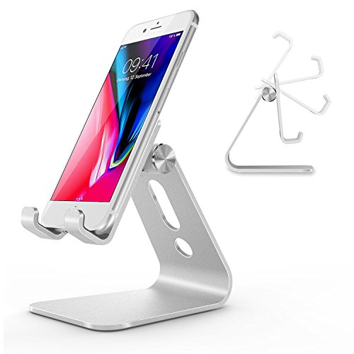 OMOTON Phone Stand, multi-winkel Handy Ständer für iPhone X/Xs/Xs Max/XR/8/8plus/7/7 Plus/6s/6 Plus, Huawei, Samsung und andere Smartphone, Aluminium Halterung, Silber