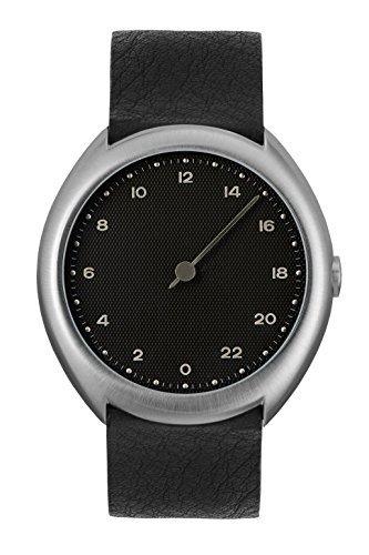 Slow O 05 - Black Leather, Silver Case, Black Dial Orologio da polso
