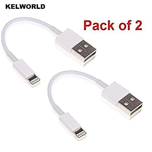 KELWORLD Short Power Bank Charging USB Data Cable for iPhone 5 5S 6 6S & 6S Plus 7 7PLUS 8 8PLUS X XS XR 10 cm-White (Pack of 2)