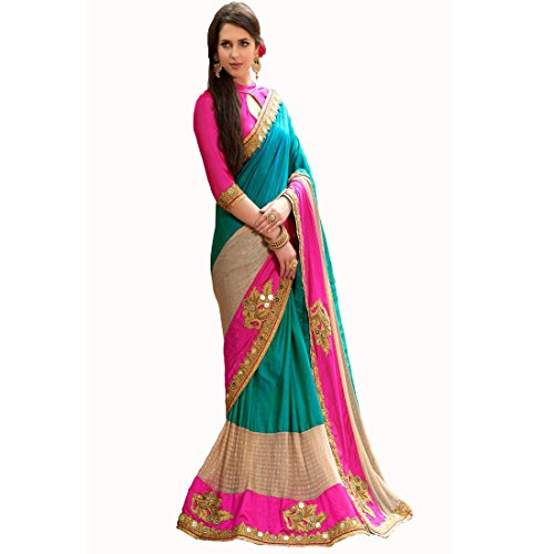 Sarees (Finix Fashion Women's Clothing Georgette Embroidered ,Chiffon, Paper Cotton Silk, Laycra Net Printed Blue Pink Gold Bollywood Style Designer Wear Low Price Sale Offer buy online in Georgette Net Material New Free Size Beautiful Saree Best Offer For Women Party Wear Fashion Designer Sarees With Havy Work)