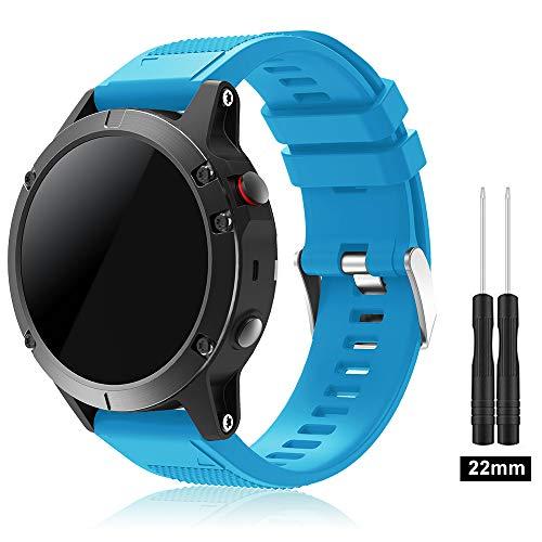 TOPsic Garmin Fenix 5 Cinturino, Braccialetto Morbido di Ricambio in Silicone per Garmin Fenix 5 / forerunner 935 Smart Watch (NON per Fenix 5X o 5S) (Blue)
