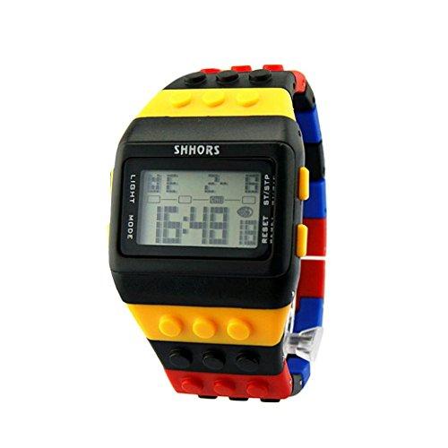 Oyedens, orologio da polso digitale unisex per donne, uomini e bambini, cinturino multicolore, Bambino, OyedensAD34, A