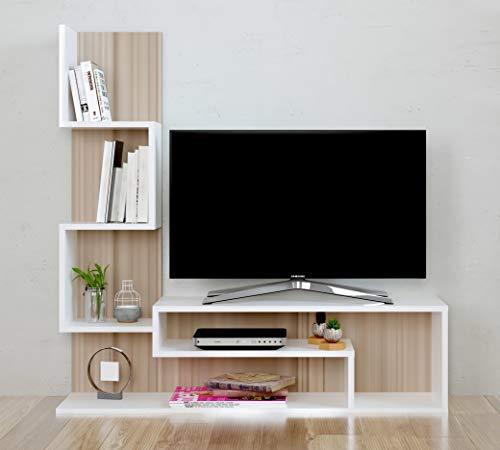 Mimosa Set Soggiorno - Parete Attrezzata- Mobile TV Porta con mensola in Moderno Design (Avola -...
