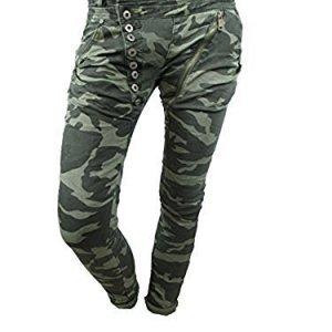 Mozzaar Damen Jeans-Hose Camouflage Tarn