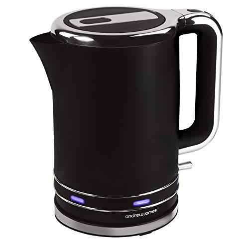 Andrew James Lumiglo Wasserkocher 1,7L | Elektrisch Kabellos mit Schnellkochfunktion | Blaue Beleuchtung | Wiederverwendbarer Filter und Klappbarer Deckel | Mattschwarz | 3000W