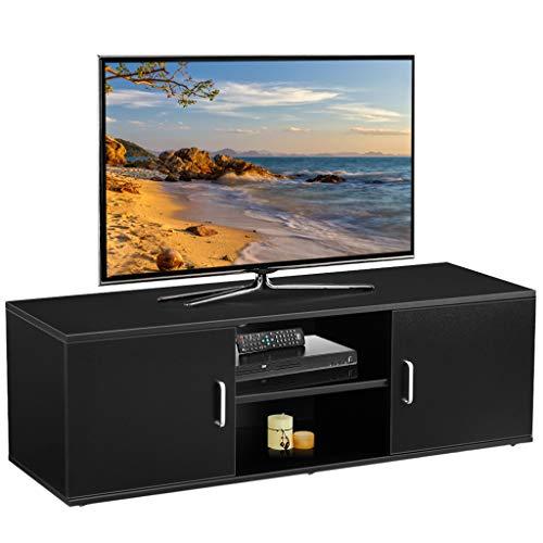 LANGRIA Mobile da Soggiorno Mobile TV Porta di 2-Tier con il Design Classico e Sofistito Nero