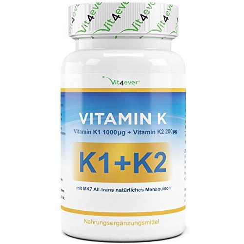 Vitamin K1 1000 µg + Vitamin K2 200 µg - 365 Tabletten - Phyllochinon + natürliches Vitamin K2 Menaquinon 7 - MK7 - All-trans +99{8ee4c3aa2fb23cac0cd295c05e9bded0e2e03316736d4e5ff5c3cea37b5d97c4} - Vegan - Vitamin K Komplex - K2 aus Fermentation - Vit4ever