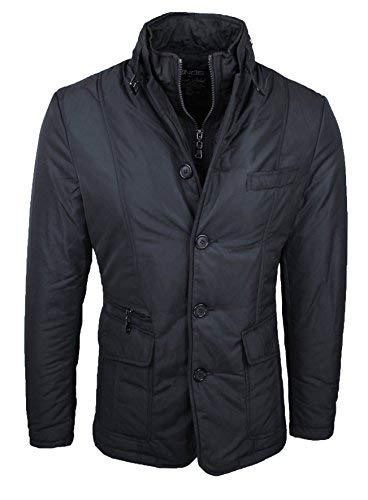 Giaccone piumino uomo invernale casual elegante giubbino giacca trench con gilet interno (Nero, L)