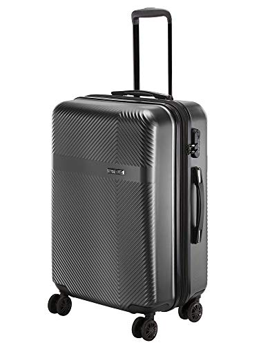 Nasher Miles Fifth Avenue Expander Hard-Side Polycarbonate Checkin Luggage Bottle Black 28 Inch | 75CM Trolley Bag