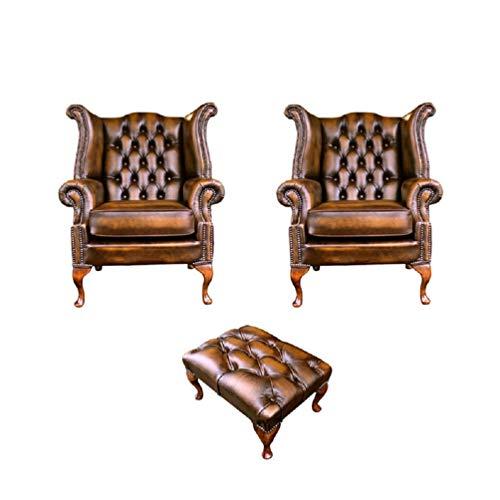 Designer Sofas4u Chesterfield - Set di 2 poltrone Queen Anne, con poggiapiedi, in Pelle Color Oro Anticato