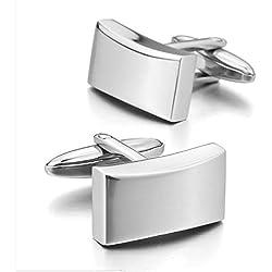 Venta caliente Gemelos de acero inoxidable negro clásico boda negocios 1par Conjunto, plata