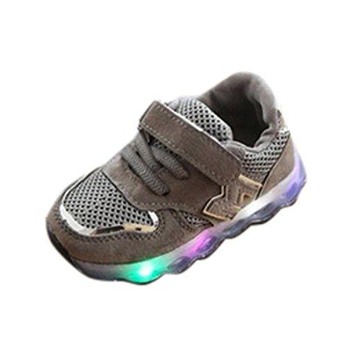 OHQ Scarpe per Neonato, Bambino Piccolo Scarpe da Bambini in Mesh per LED Light Up Sneakers Luminose Piccoli Ragazzi E Ragazze Traspiranti Sportive (28, Grigio)