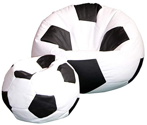 baselli Poltrona a Sacco Pouf Ø100 cm in Ecopelle con Poggiapiedi Pallone da Calcio Bianco e Nero