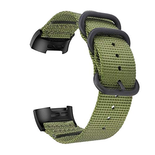 YOOSIDE Cinturino per Fitbit Charge 3 / Fitbit Charge 3 SE, Nota Cinturino in Nylon Intrecciato con Cinturino Regolabile in Acciaio Inossidabile con Anello in Metallo (Verde)