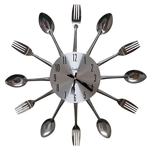 Nanxin Orologio da Parete per Cucina con Forchetta Cucchiaio Posate in Alluminio